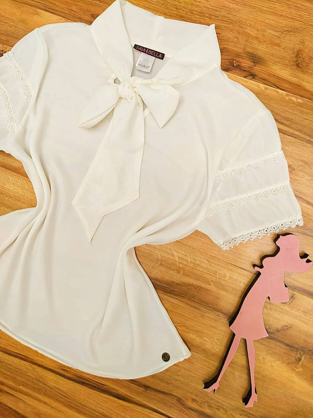 Blusa de Renda Mell Saia Bella - SB9976 branco