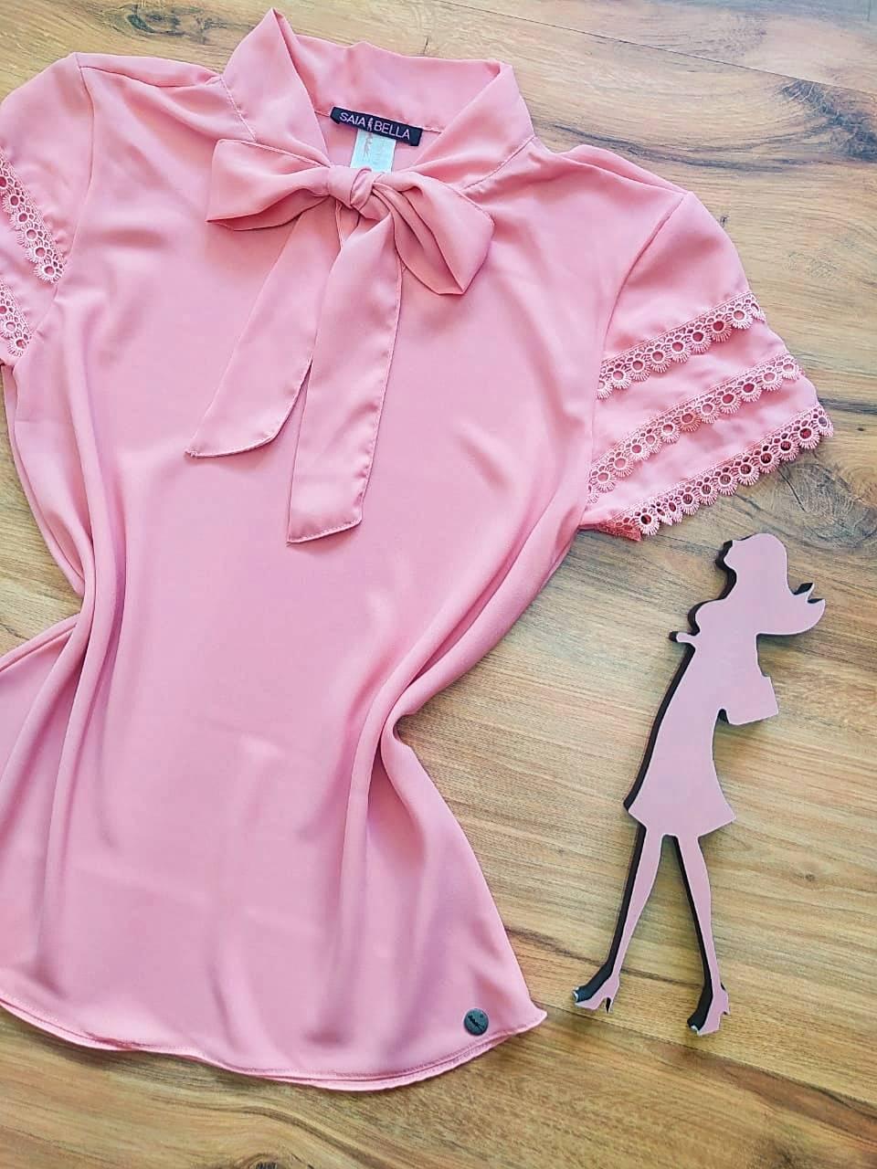 Blusa de Renda Mell Saia Bella - SB9976 Rosê