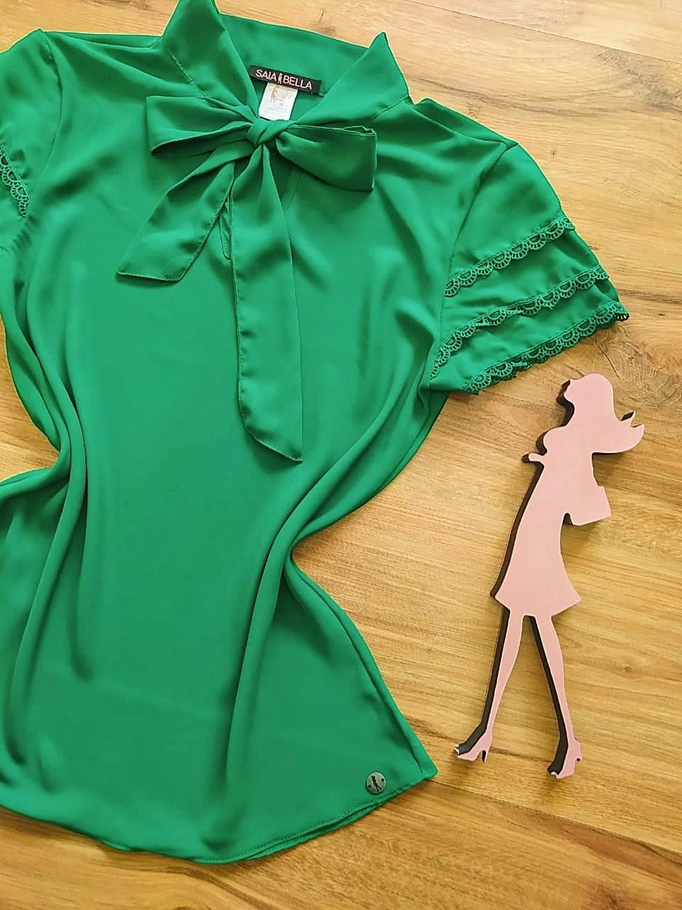 Blusa de Renda Mell Saia Bella - SB9976 Verde Bandeira