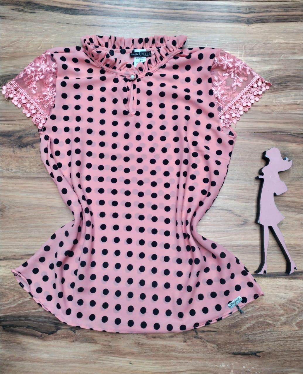 Blusa de Renda Saia Bella - SB1000 rosa