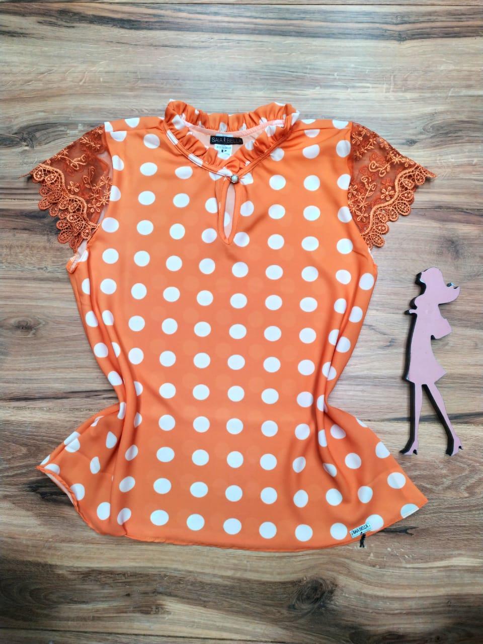 Blusa de Renda Saia Bella - SB1001 laranja