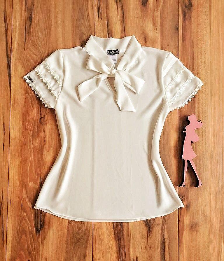 Blusa de Renda Saia Bella - SB9950 branca