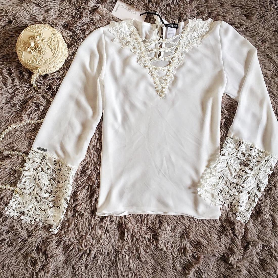 Blusa de Renda Saia Bella - SB9959 branca