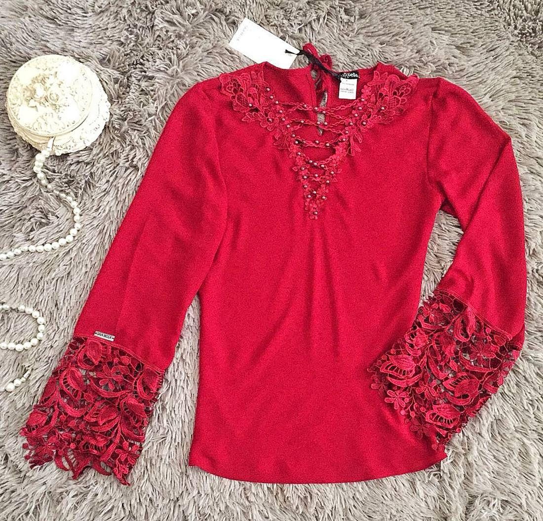 Blusa de Renda Saia Bella - SB9959 vermelho