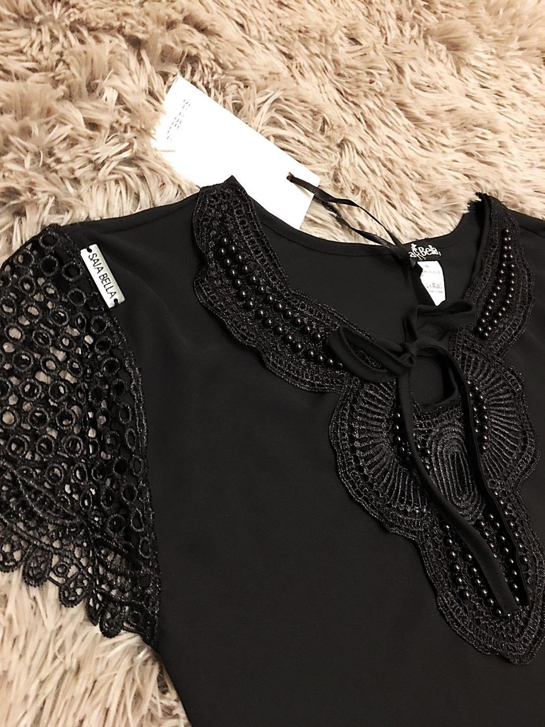 Blusa de Renda Saia Bella - SB9960 preto