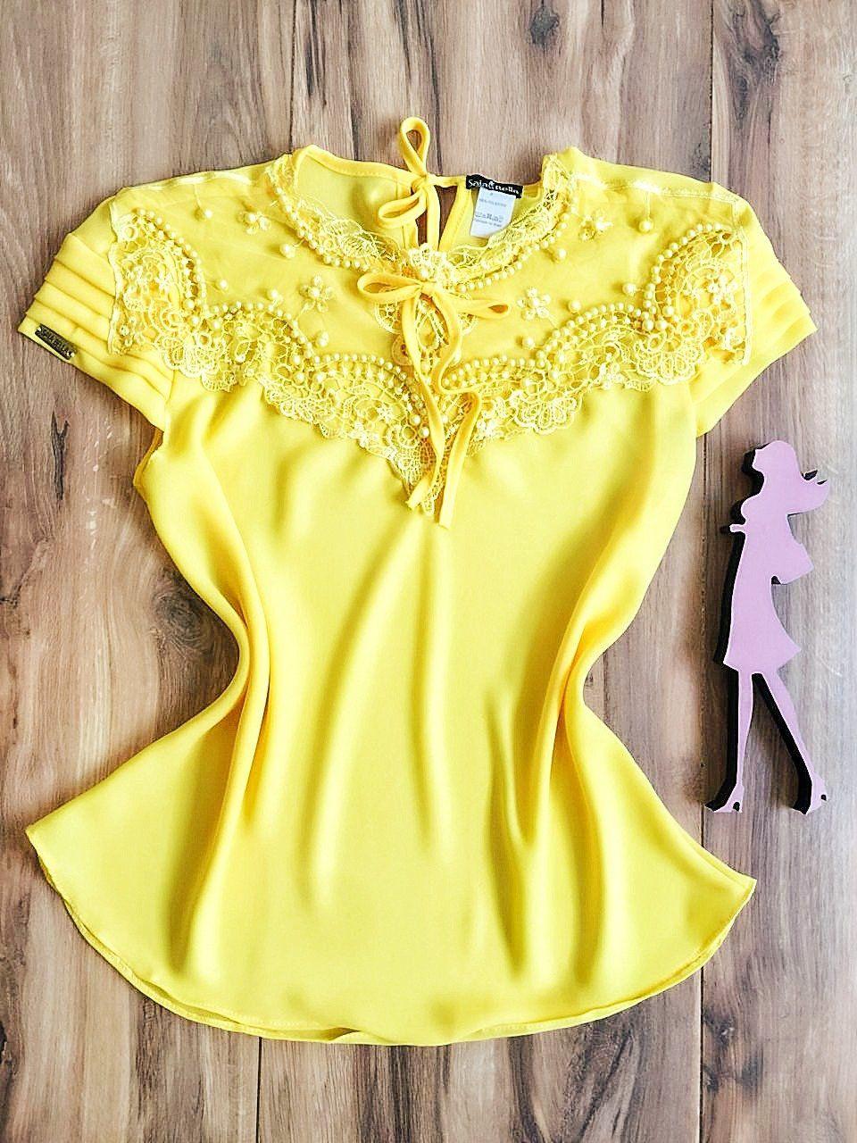 Blusa de Renda Saia Bella - SB9963 amarelo
