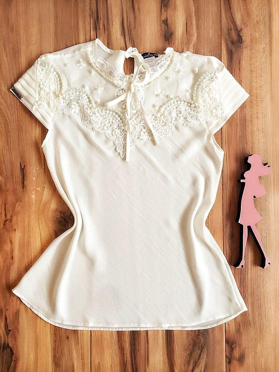 Blusa de Renda Saia Bella - SB9963 branco