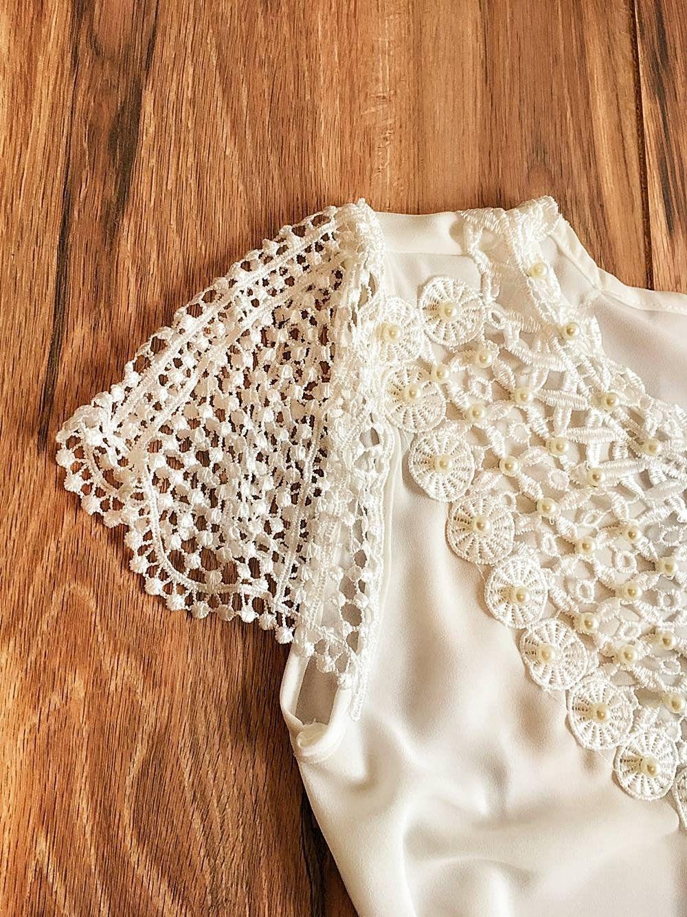 Blusa de Renda Saia Bella - SB9964 branco