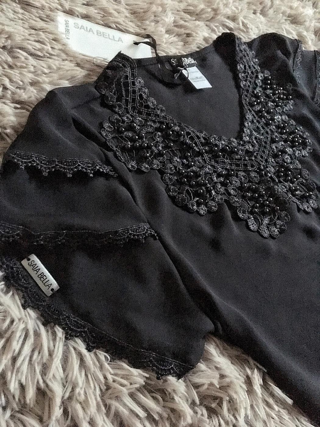 Blusa de Renda Saia Bella - SB9963 preto