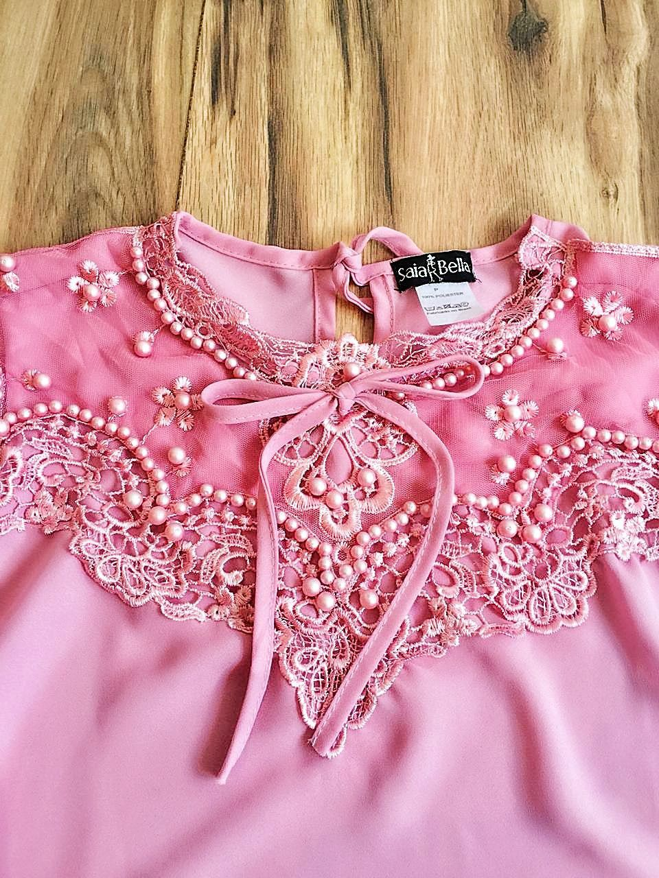 Blusa de Renda Saia Bella - SB9963 rosa
