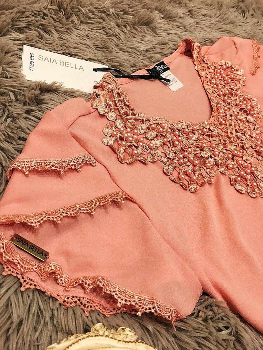 Blusa de Renda Saia Bella - SB9963 rose