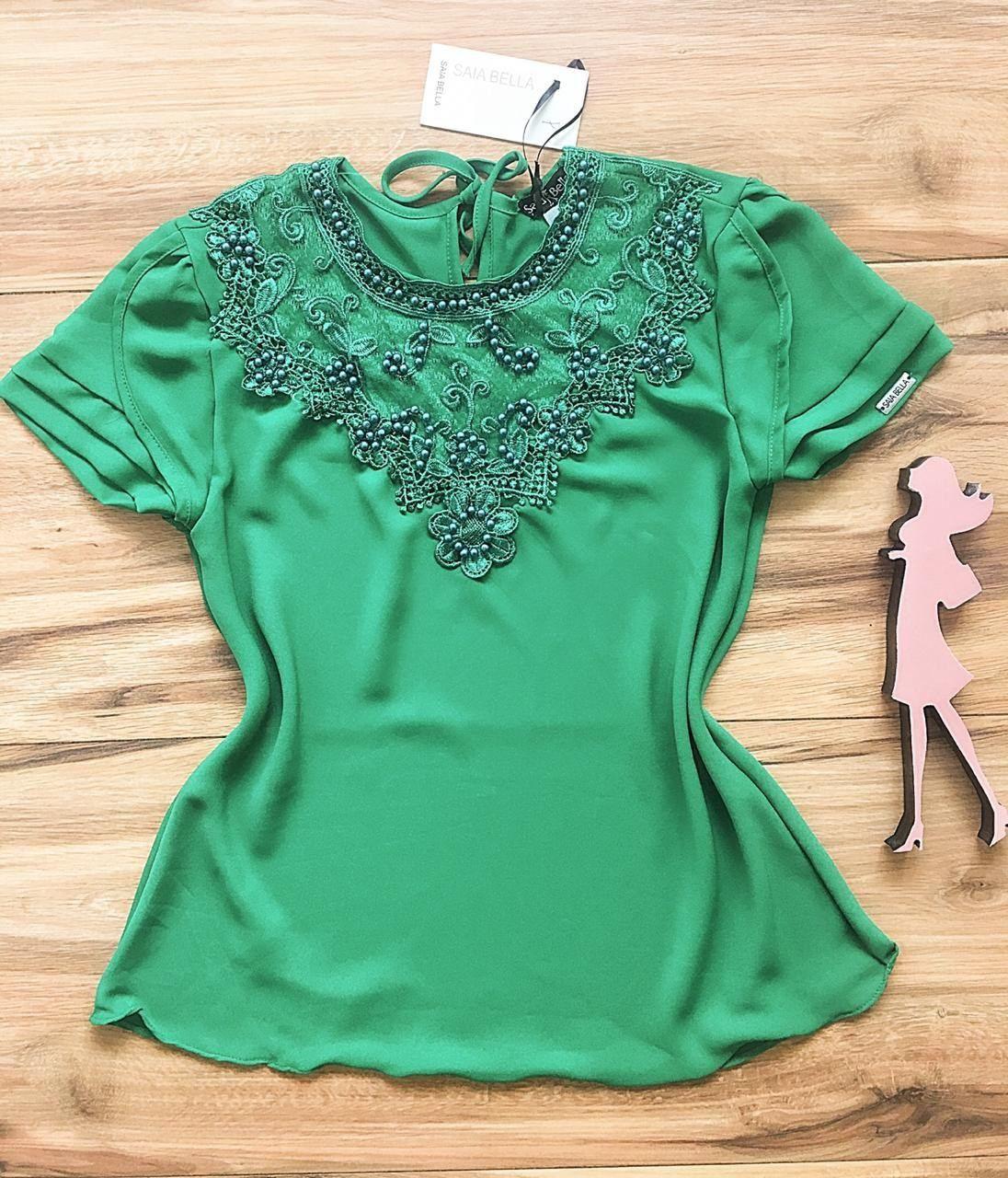 Blusa de Renda Saia Bella - SB9965 verde