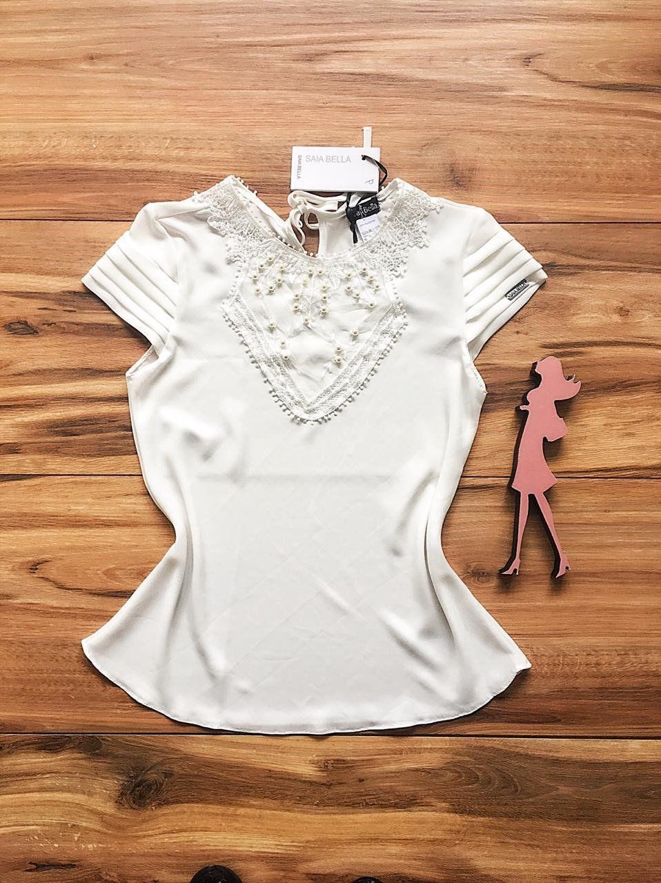 Blusa de Renda Saia Bella - SB9966 branco