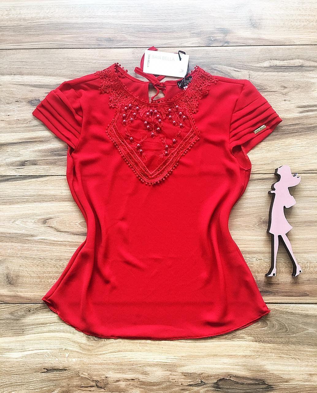 Blusa de Renda Saia Bella - SB9966 vermelho