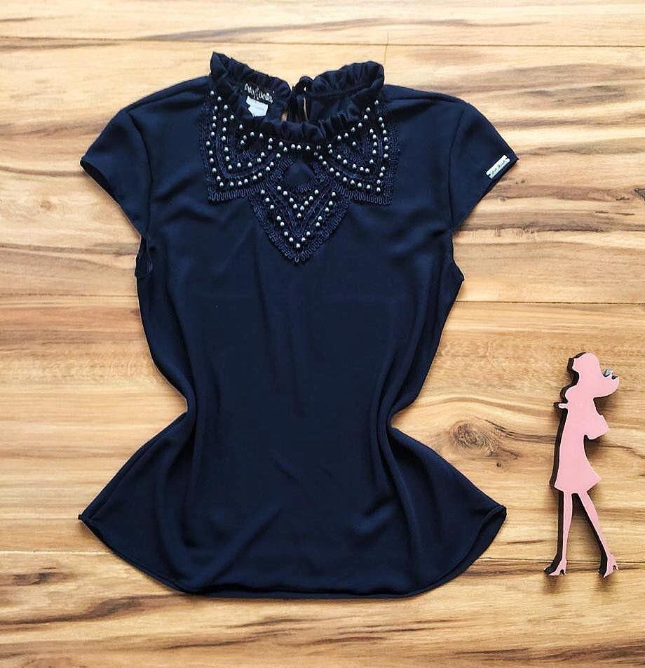 Blusa de Renda Saia Bella - SB9968 azul marinho