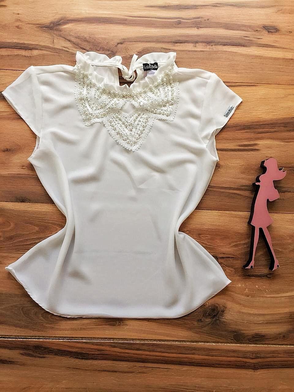 Blusa de Renda Saia Bella - SB9968 branco