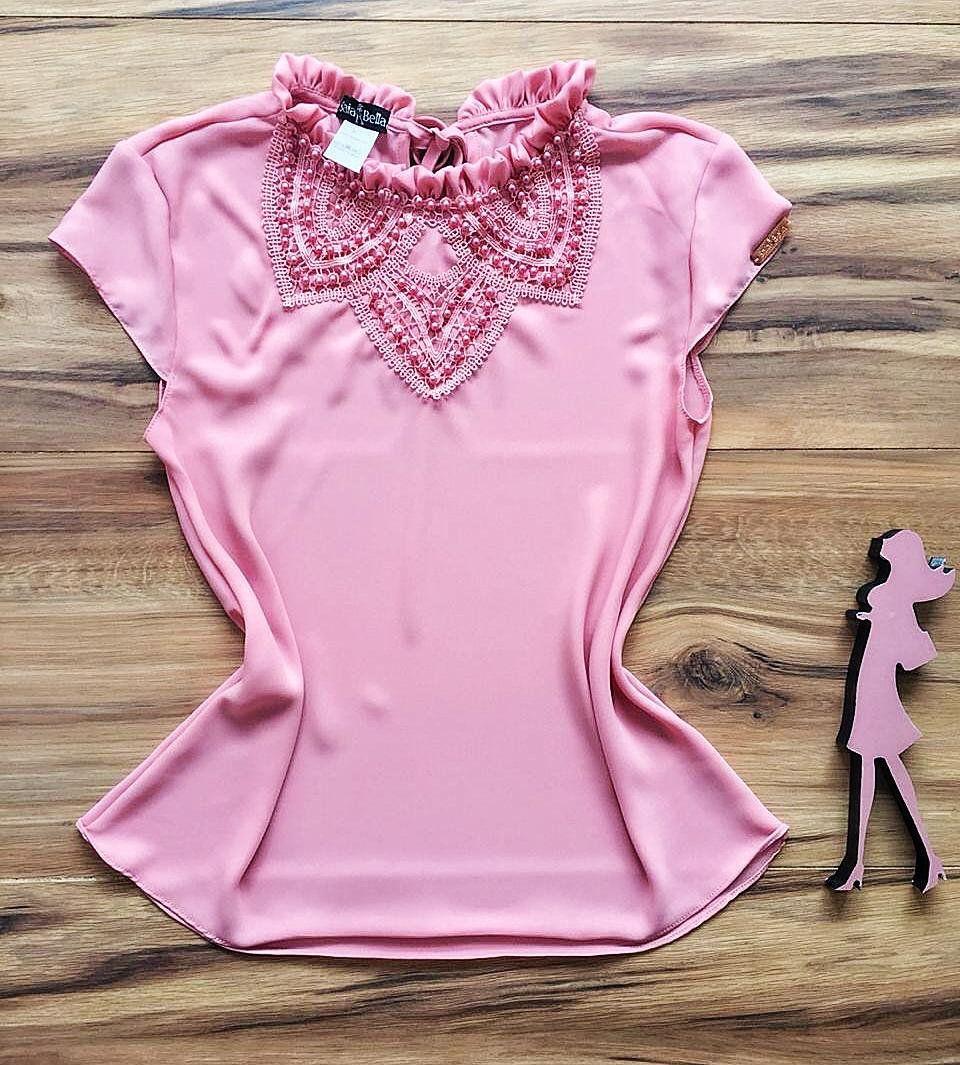 Blusa de Renda Saia Bella - SB9968 rosa