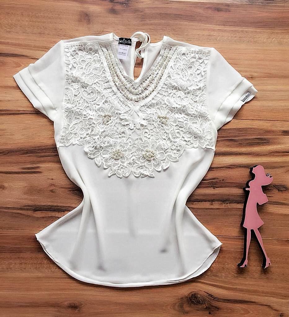 Blusa de Renda Saia Bella - SB9971 branca