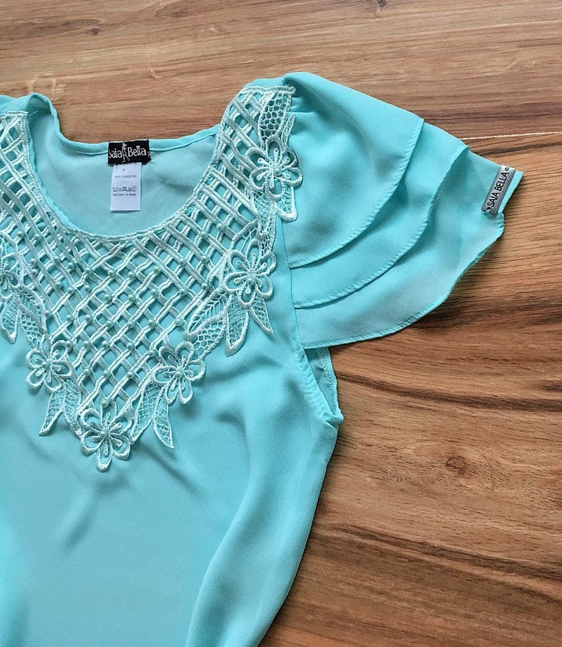 Blusa de Renda Saia Bella - SB9972 azul bebe