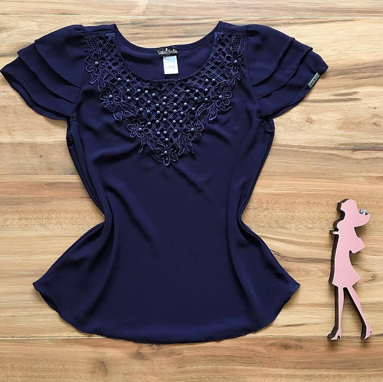 52a2ff7d7 Blusa de Renda Saia Bella - SB9972 azul marinho