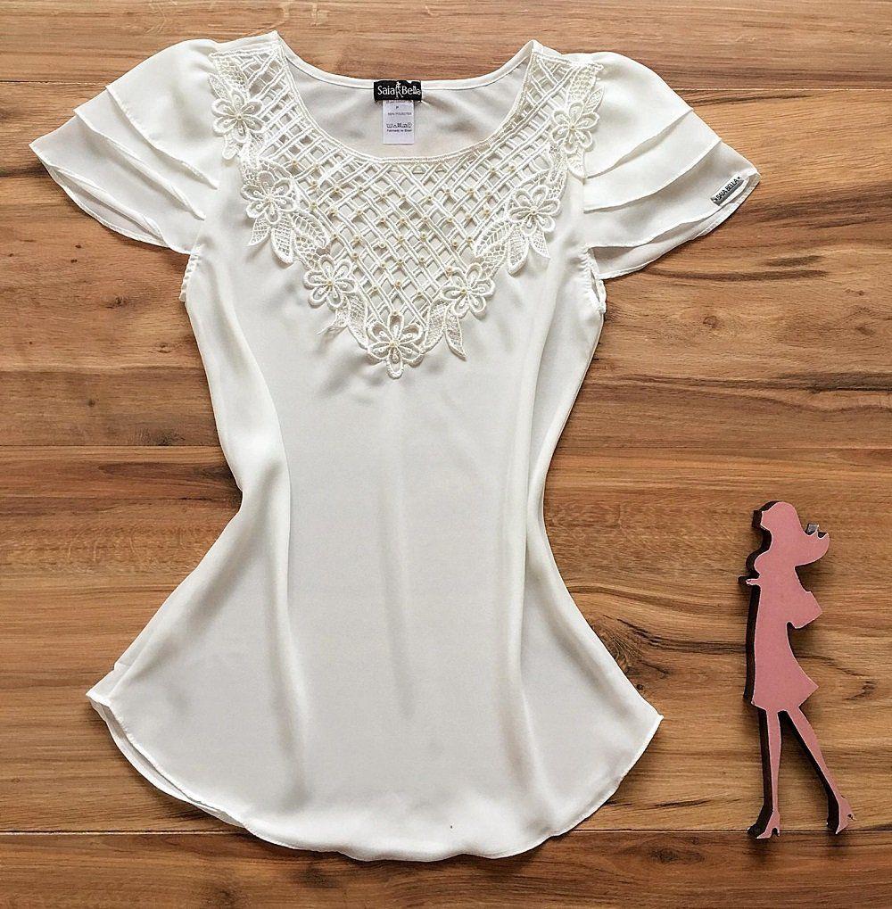 Blusa de Renda Saia Bella - SB9972 branco