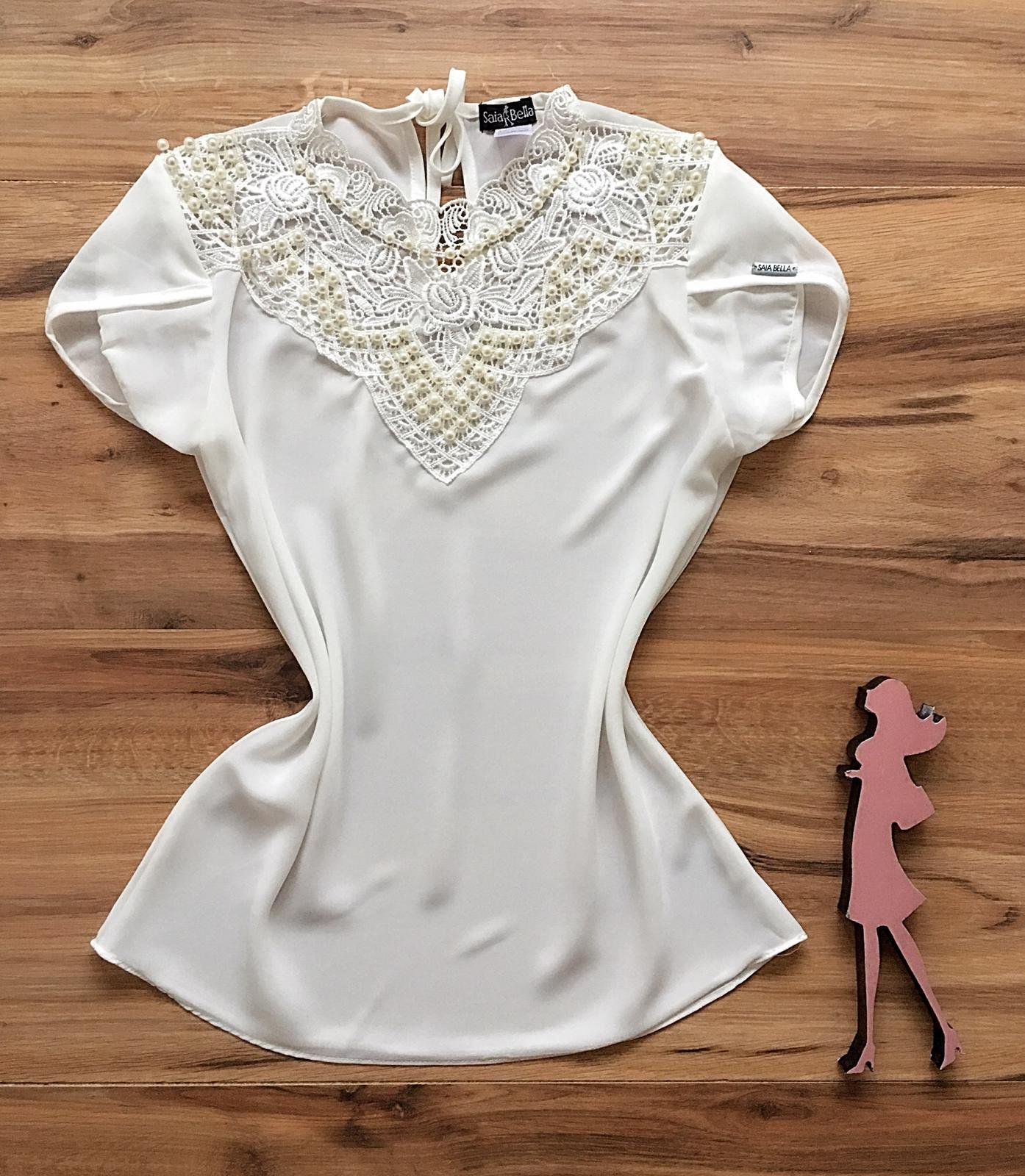 Blusa de Renda Saia Bella - SB9973 branca