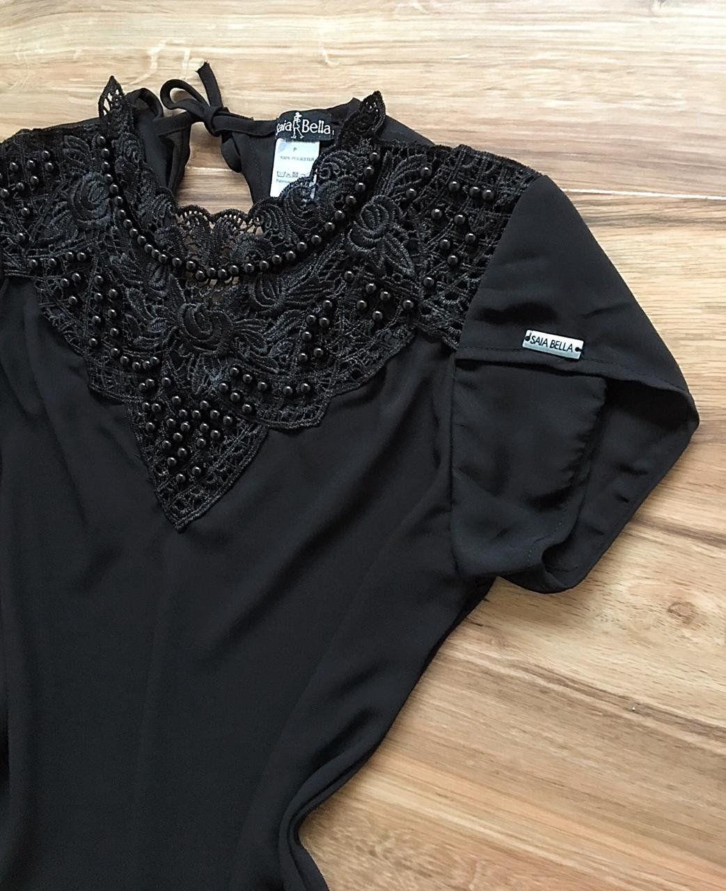 Blusa de Renda Saia Bella - SB9973 preto