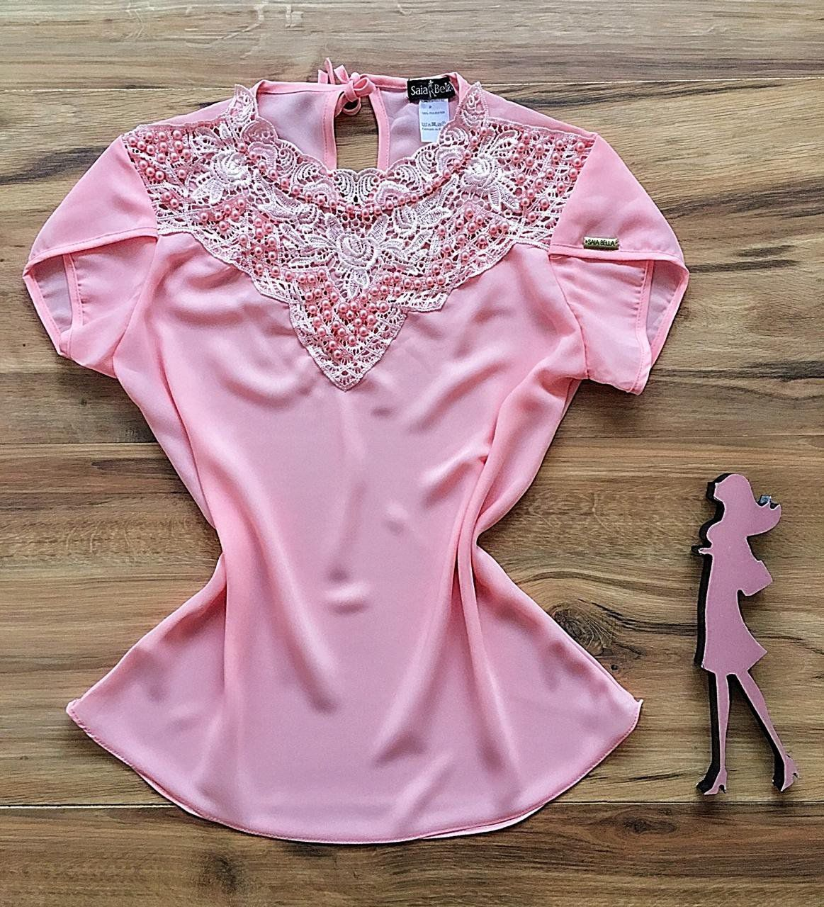 Blusa de Renda Saia Bella - SB9973 rosa