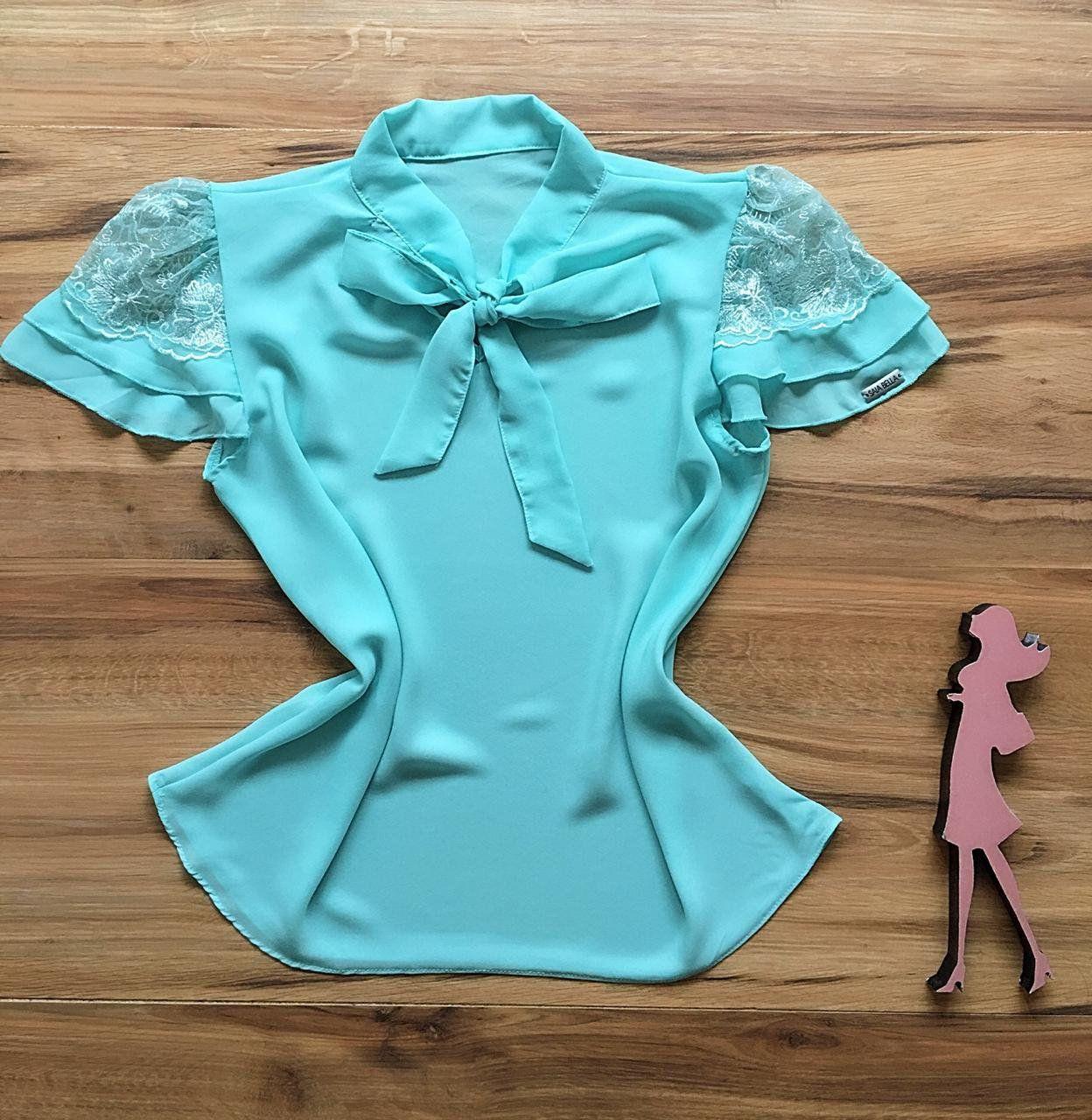 Blusa de Renda Saia Bella - SB9974  azul bebe