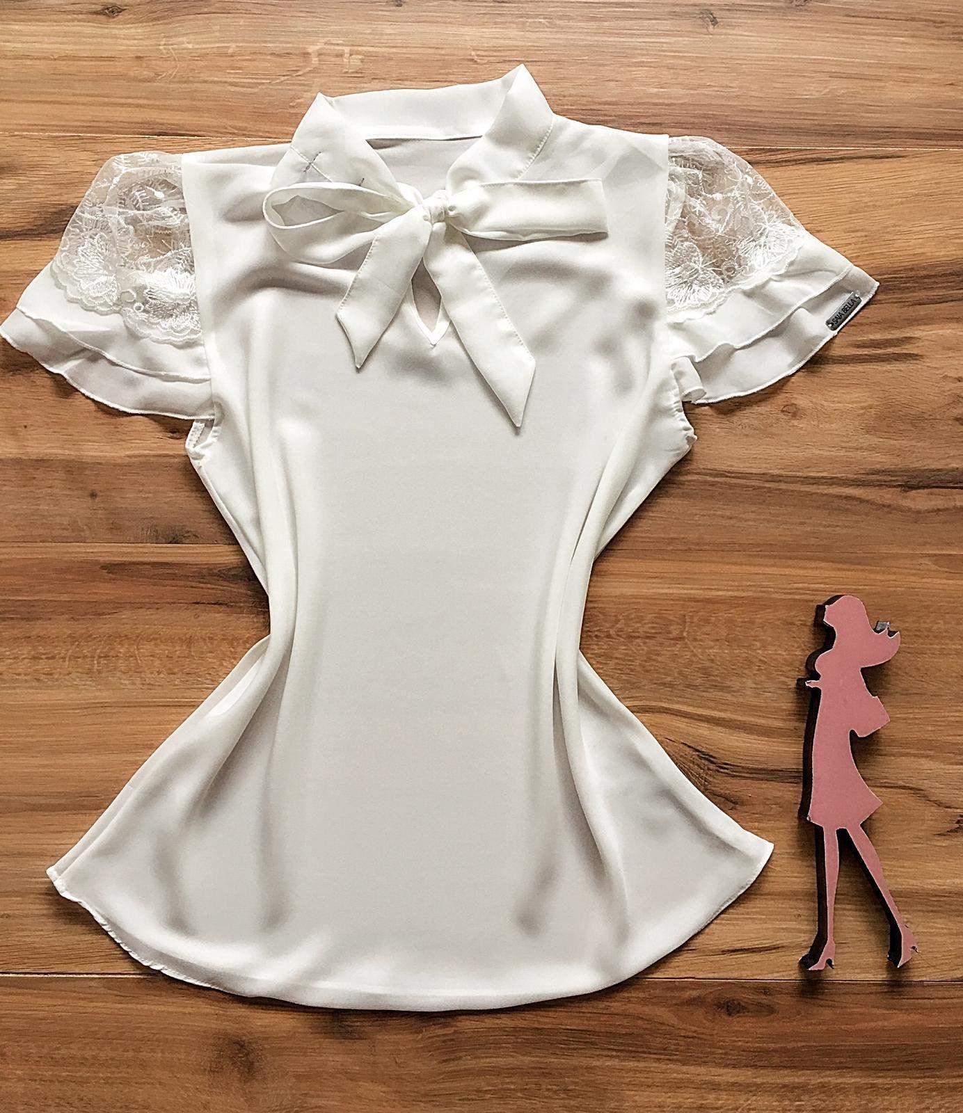 Blusa de Renda Saia Bella - SB9974  branca