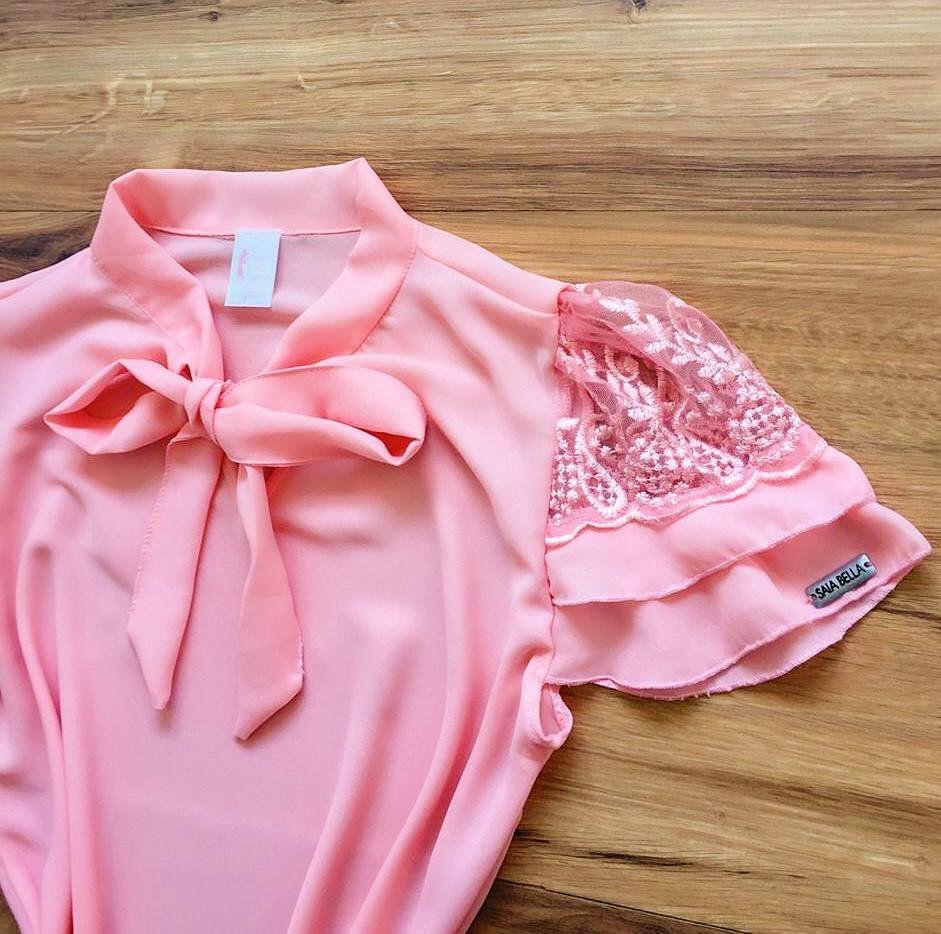Blusa de Renda Saia Bella - SB9974  Rosa