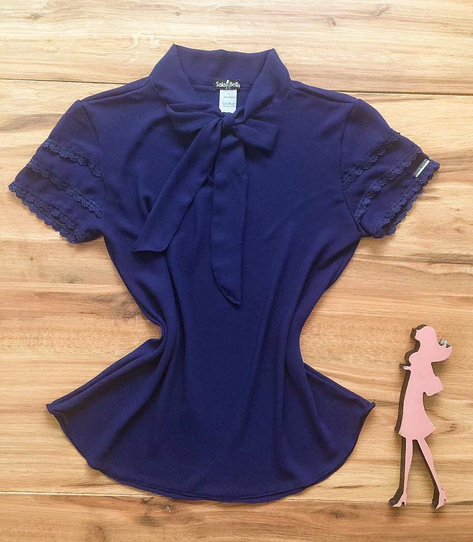 Blusa de Renda Saia Bella - SB9976 azul