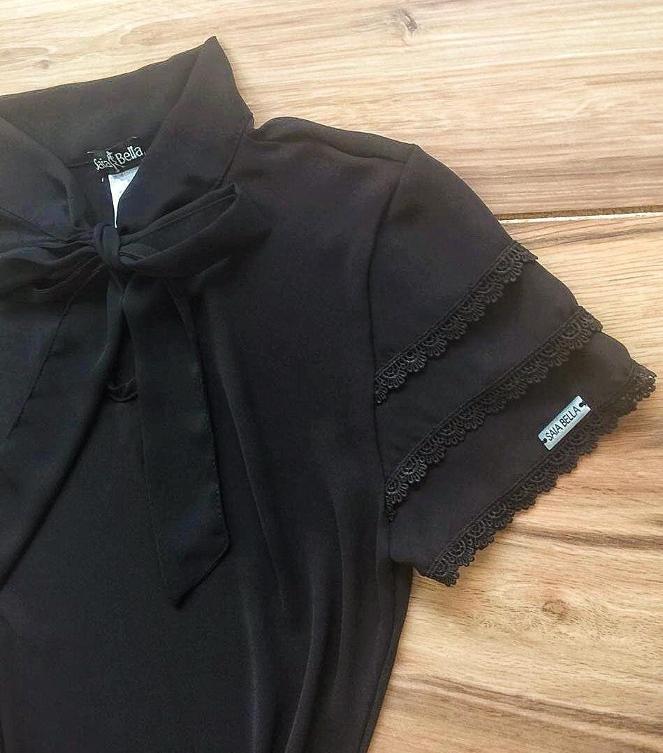 Blusa de Renda Mell Saia Bella - SB9976 preto