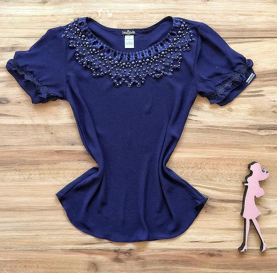 Blusa de Renda Saia Bella - SB9977 azul marinho
