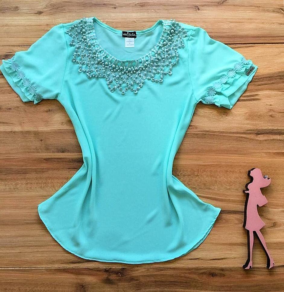 Blusa de Renda Saia Bella - SB9977 azul bebe