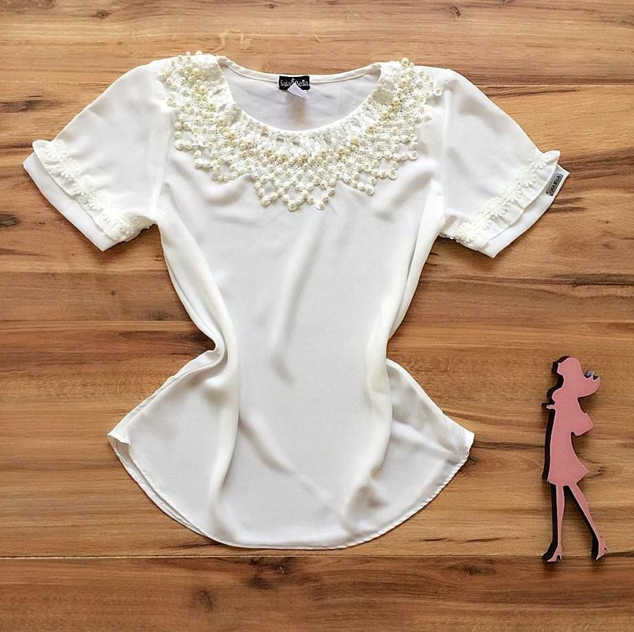 Blusa de Renda Saia Bella - SB9977 branca