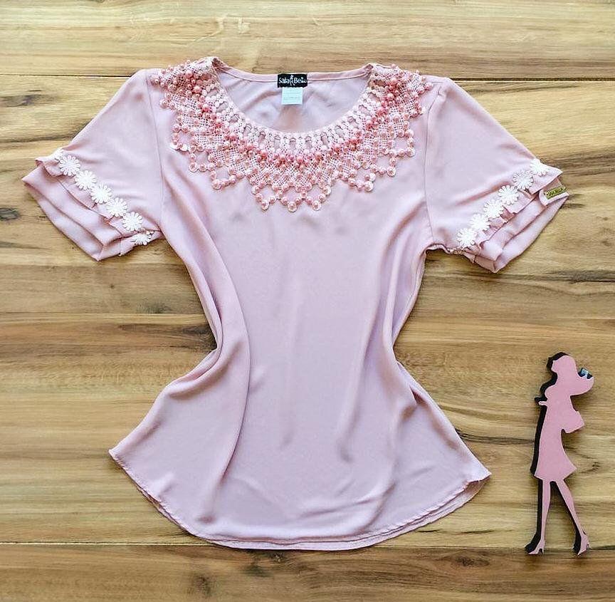 Blusa de Renda Saia Bella - SB9977 rosa claro