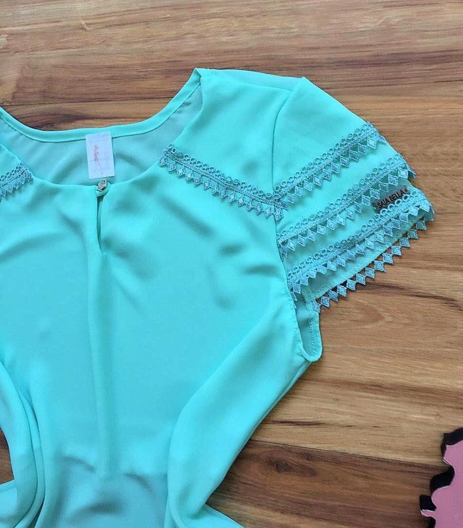 Blusa de Renda Saia Bella - SB9978  azul bebe