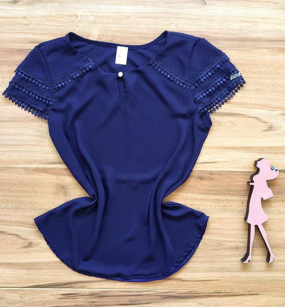 Blusa de Renda Saia Bella - SB9978  azul marinho