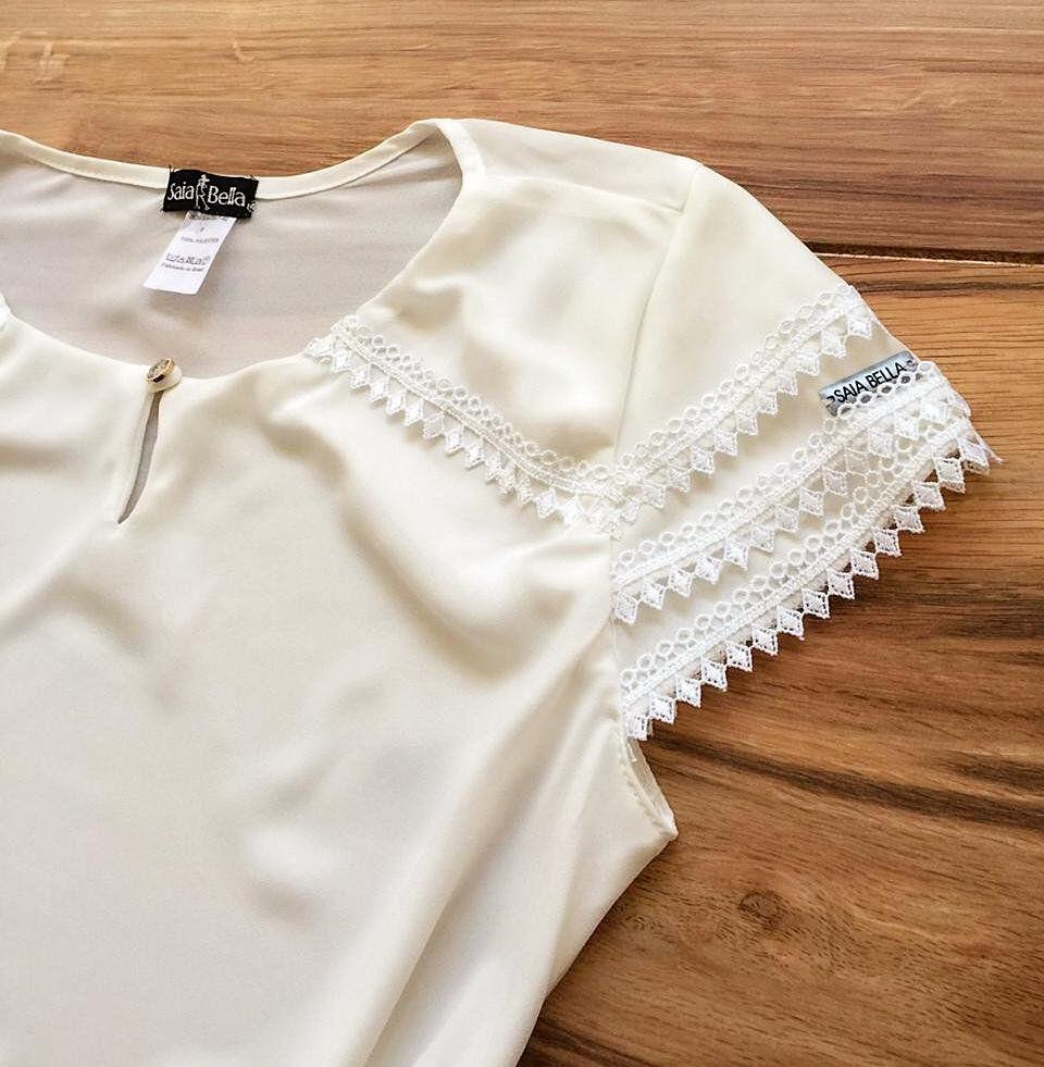 Blusa de Renda Saia Bella - SB9978 branco
