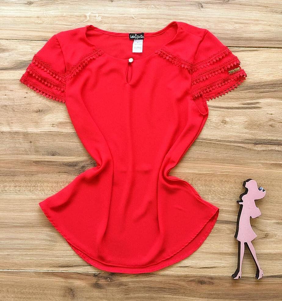 Blusa de Renda Saia Bella - SB9978 vermelho