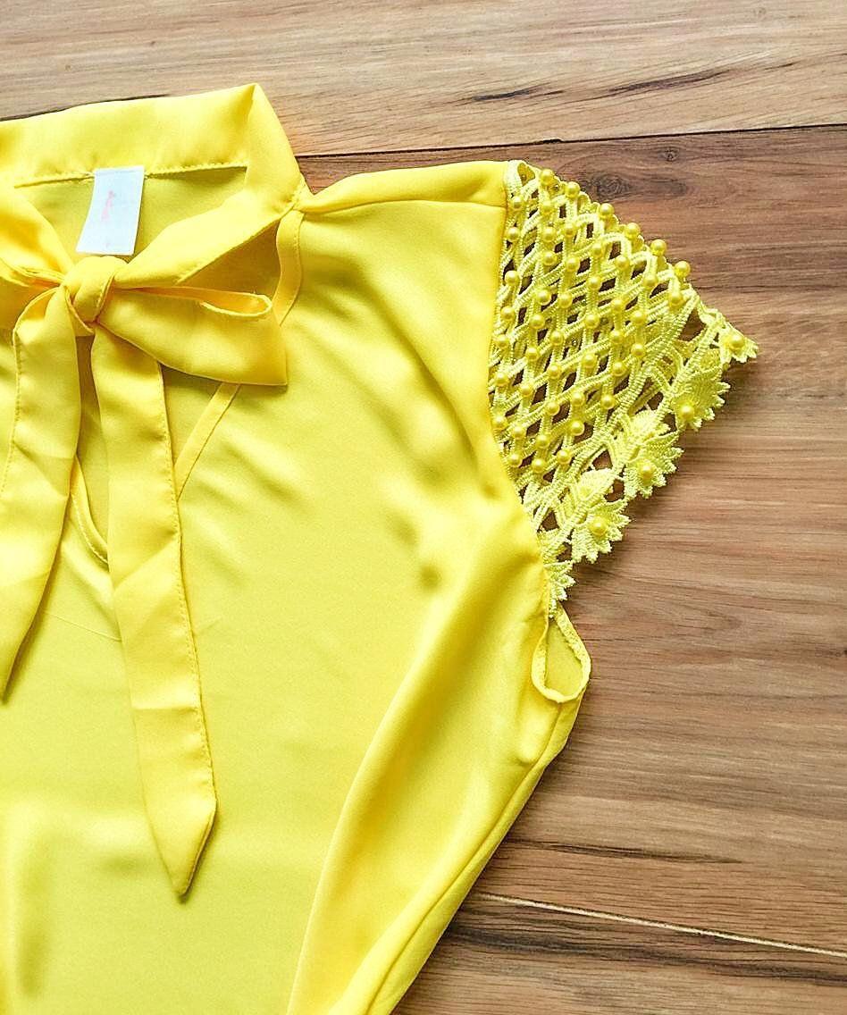 Blusa de Renda Saia Bella - SB9979  Amarelo