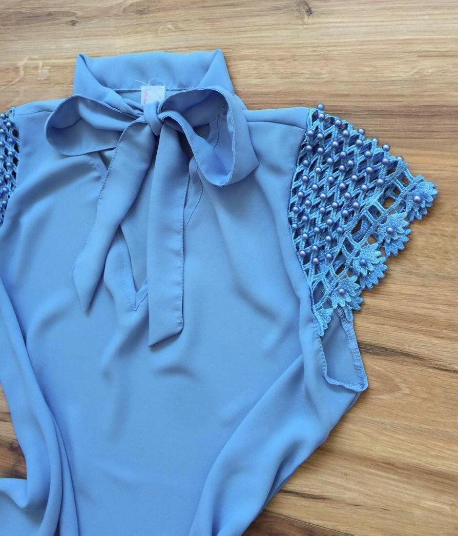 Blusa de Renda Saia Bella - SB9979  Azul