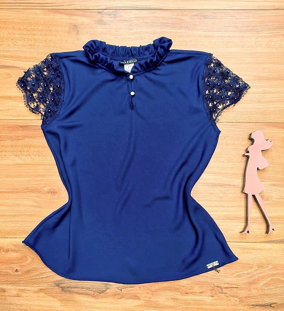 Blusa de Renda Saia Bella - SB9980 azul marinho