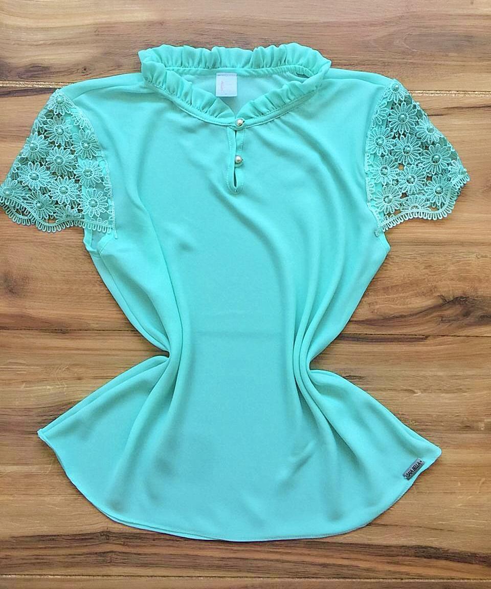 Blusa de Renda Saia Bella - SB9980 azul bebe