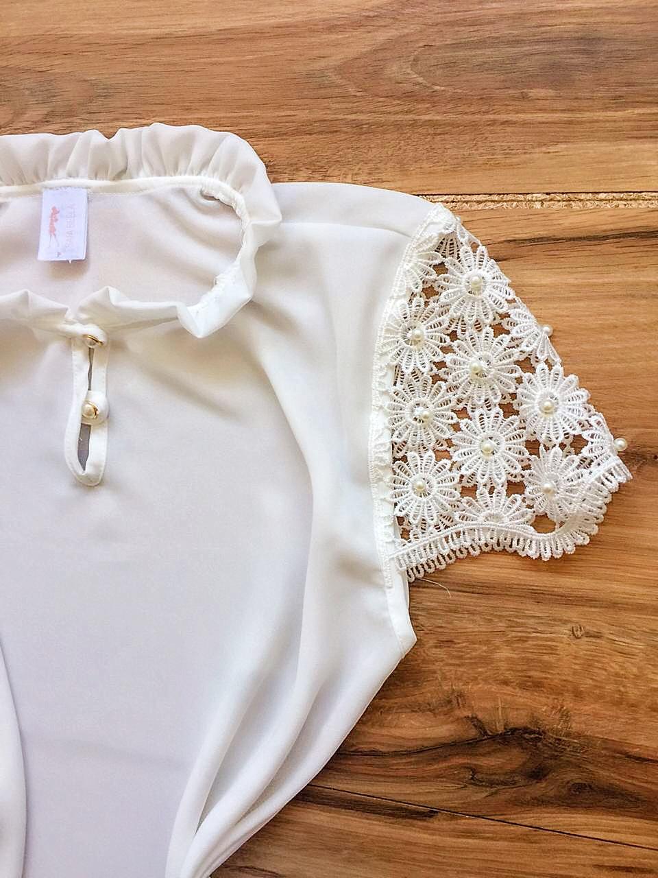 Blusa de Renda Saia Bella - SB9980 branco