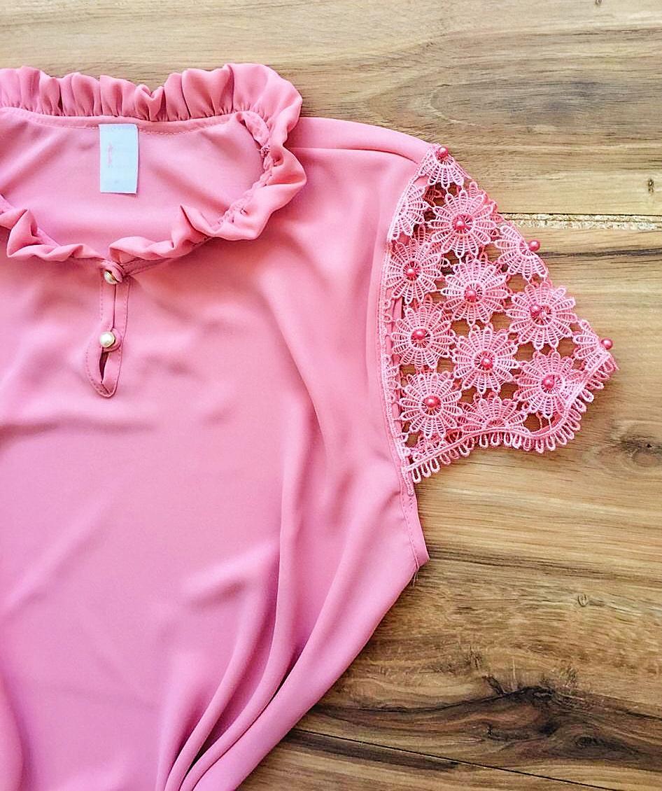 Blusa de Renda Saia Bella - SB9980 rosa