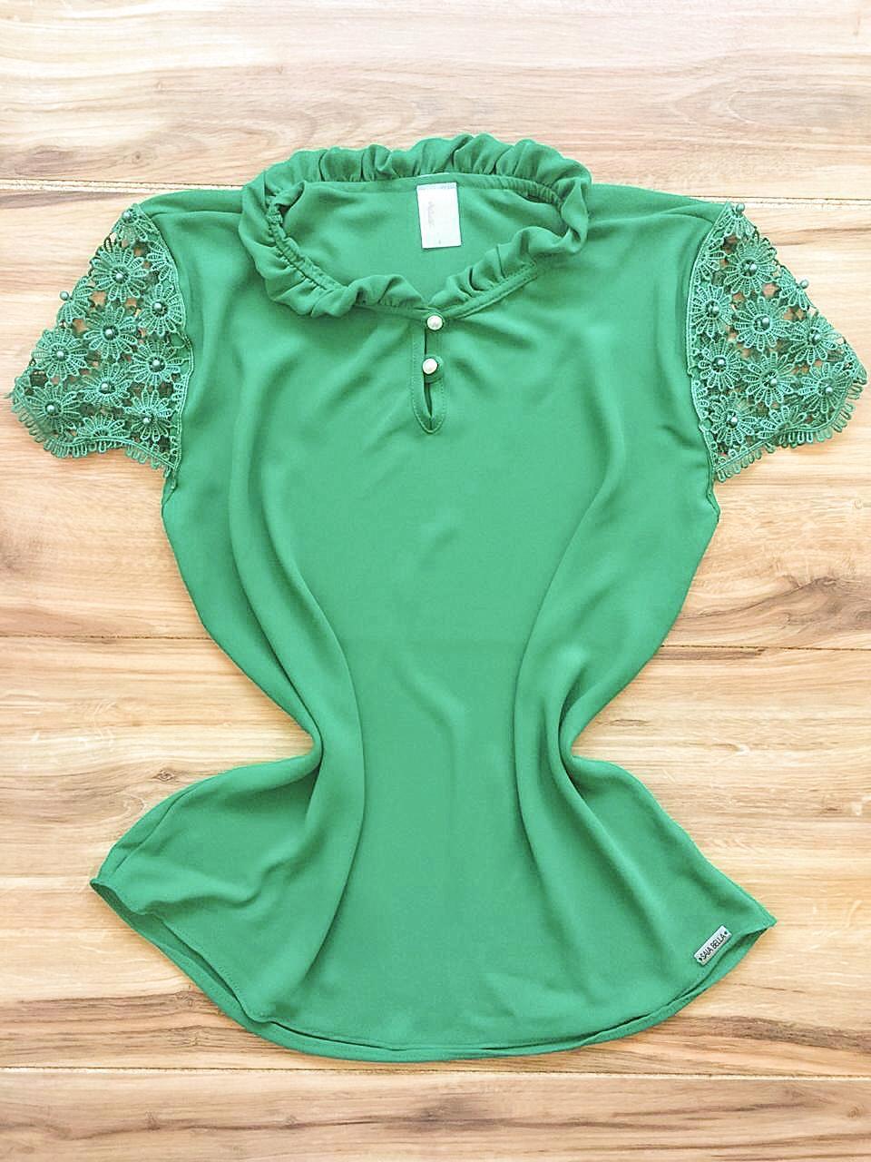 Blusa de Renda Saia Bella - SB9980 verde escuro