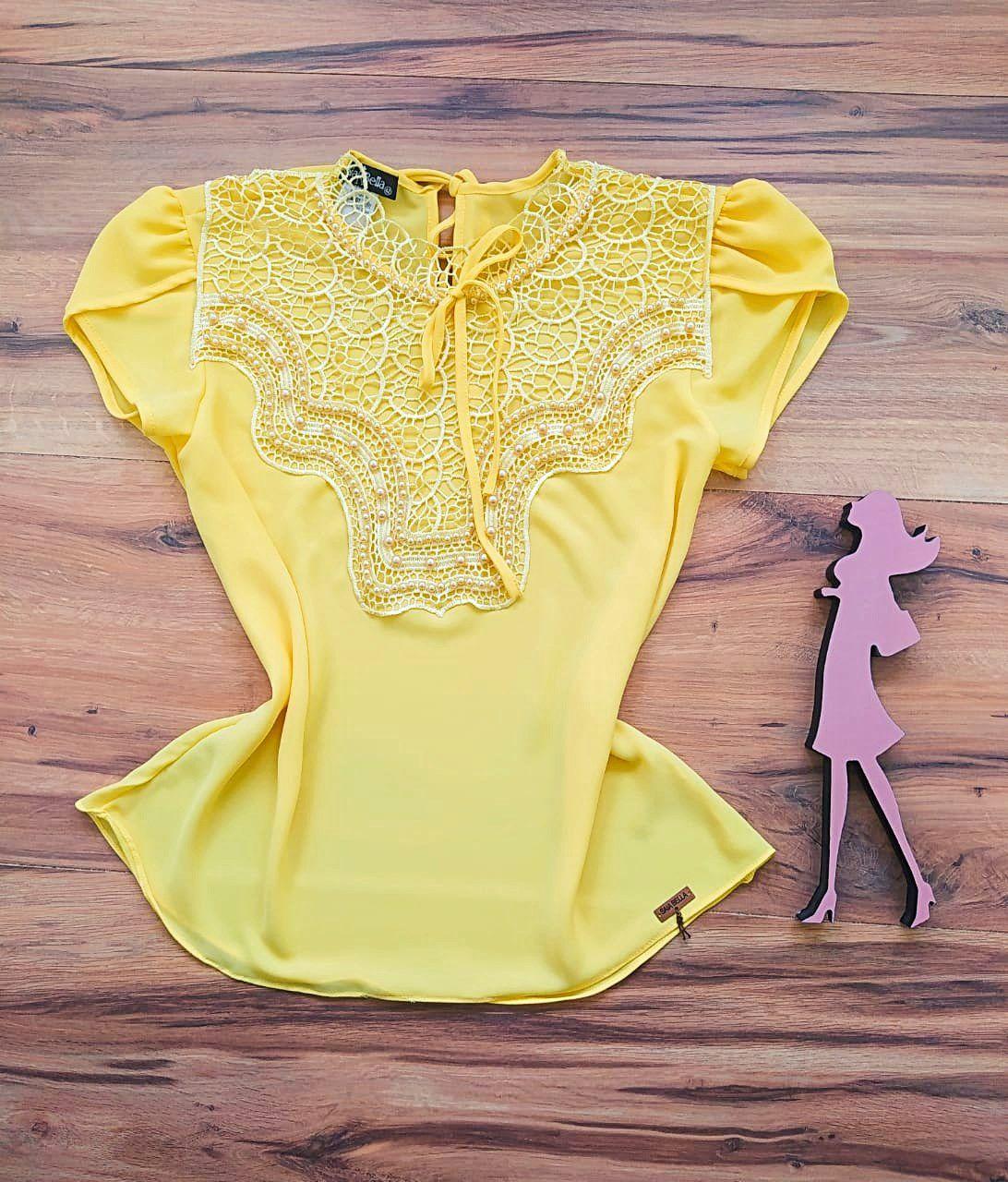 Blusa Bianca de Renda Saia Bella - SB9981 amarelo