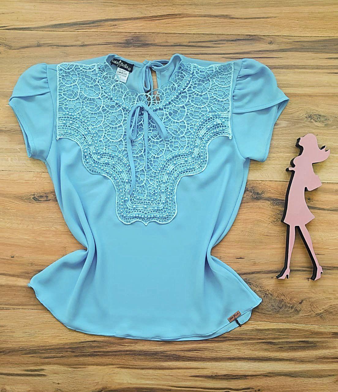 Blusa Bianca de Renda Saia Bella - SB9981 azul